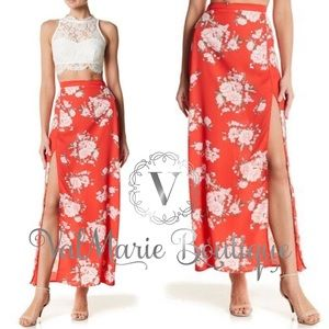 Summers Red Floral Maxi Skirt
